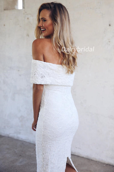Off Shoulder Wedding Dress,  Lace Wedding Dress, Split Bridal Dress, Mermaid Wedding Dress, Charming Wedding Dress, DA939