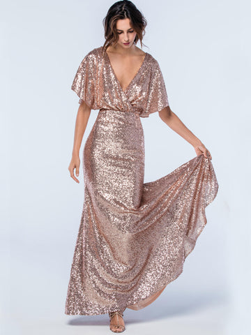 V-Neck Bridesmaid Dress, Sequin Bridesmaid Dress, Backless Bridesmaid Dress, Mermaid Bridesmaid Dress, Maxi Bridesmaid Dress, LB0956