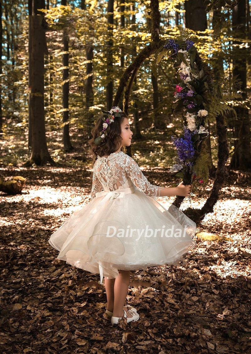 Long Sleeve Organza Lace Pixie Tutu Dresses Cheap Flower Girl