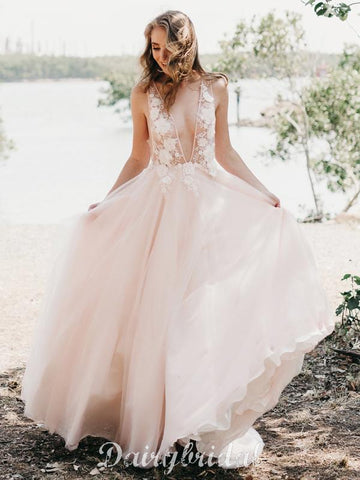 Sexy Deep V-Neck Tulle Wedding Dress, A-Line Backless Applique Wedding Dress, D962