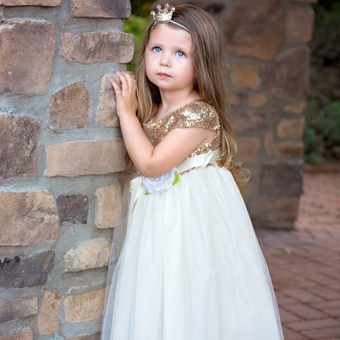 Cap Sleeve Tulle Sequin Flower Girl Dresses, Cheap Lovely Little Girl Dresses,  LB0964