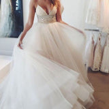 Popular Spaghetti Sexy V-neck Long A-line White Organza Wedding Party Dresses White Rhinestone, WD0095