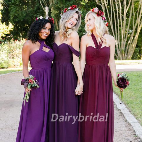 Mismatched Bridesmaid Dress, Chiffon Bridesmaid Dress, Charming Bridesmaid Dress, Floor-Length Bridesmaid Dress, Cheap Bridesmaid Dress, KX96