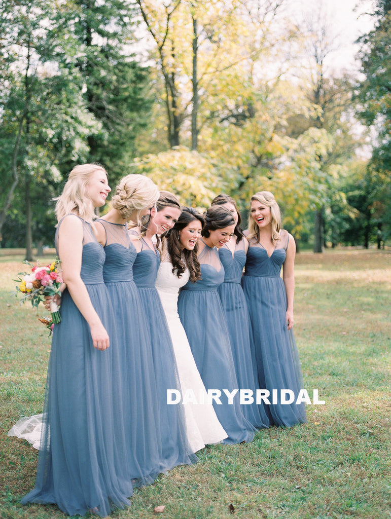 Mismatched Tulle Bridesmaid Dress, Simple A-Line Sleeveless Bridesmaid Dress, D971