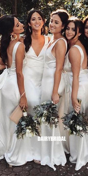 Cheap V-neck Bridesmaid Dress, Sleeveless Backless Sexy Bridesmaid Dress, D976