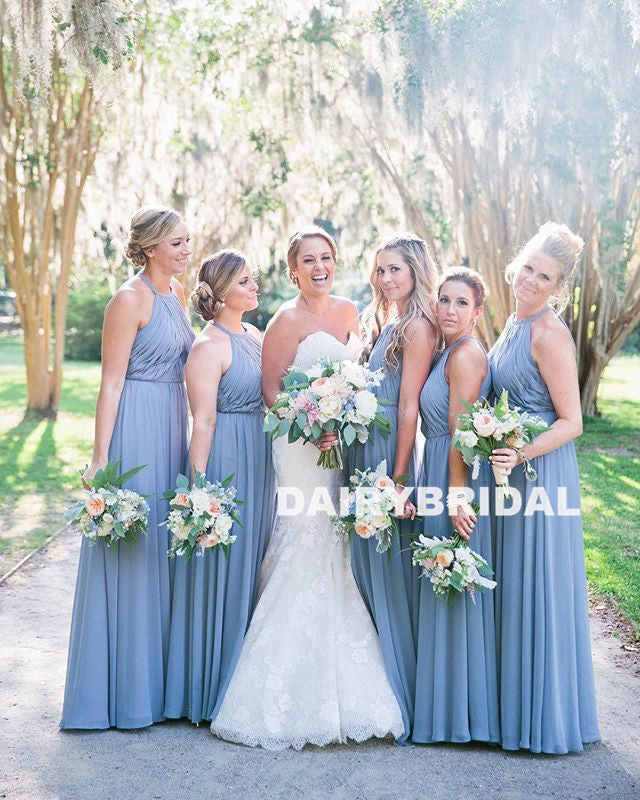 Cheap A-Line Chiffon Bridesmaid Dress, Pleated Backless Sexy Bridesmaid Dress, D980