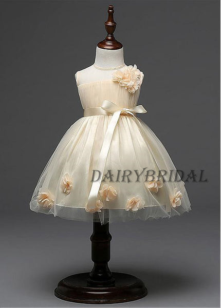 Tulle Flower Girl Dresses with Hand-Made Flower, Cheap Lovely Little Girl Dresses,  DA983
