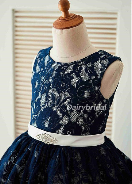 Lace Tulle Flower Girl Dresses, Cheap Lovely Little Girl Dresses,  DA985