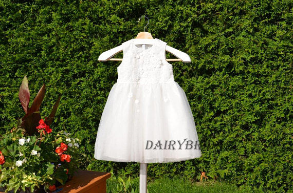 Sleeveless Round Neckline Tulle Applique Flower Girl Dresses, Lovely Little Girl Dresses, DA996