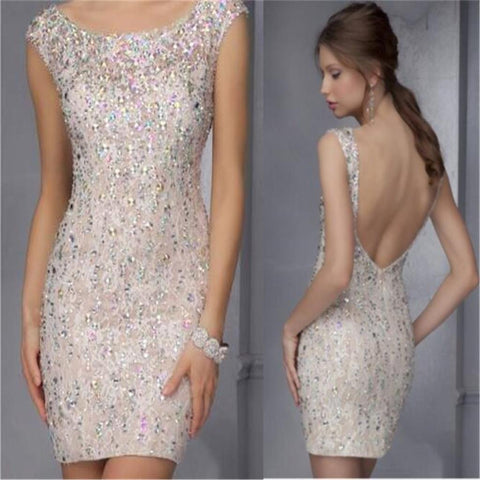 Backless Sparkle Charming Sweet Prom Dresses, Cocktail Evening Dresses,Short Prom Dress,Prom Dresses Online,PD0179
