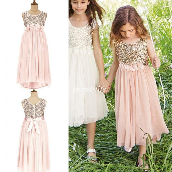 7c744b99f Sweet Sequin Top Tulle Appliques Long Flower Girl Dresses With Bow, FG001