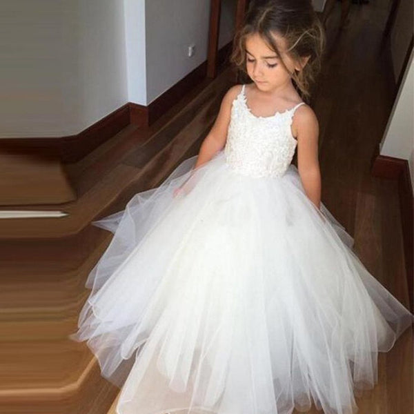 Spaghetti Lace Top White Tulle Hot Sale Flower Girl Dresses For Wedding Party, FG005