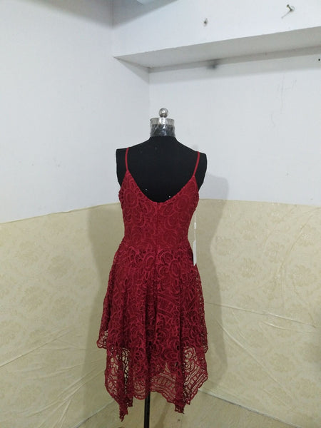 Spaghetti Straps V-Neck Bridesmaid Dress, Red Lace Bridesmaid Dress, D351