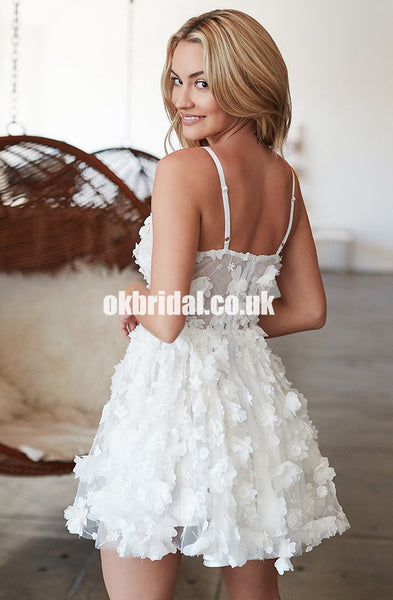 Charming White Lace Homecoming Dress, A-Line Backless Cheap Homecoming Dress, D899