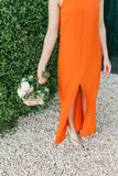 Simple Sleeveless Bright Chiffon Slit Cheap Bridesmaid Dress, FC1876