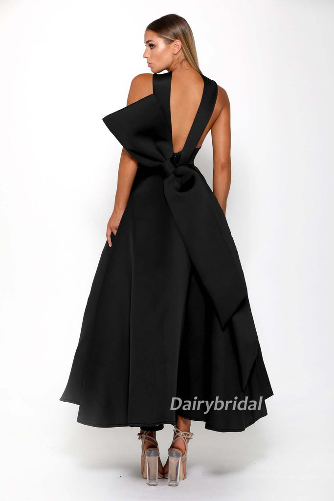 Black A-line Satin High Neck Backless Tea-Length Bridesmaid Dress, FC2267