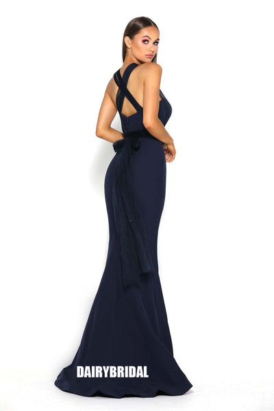 Black Mermaid Jersey Sleeveless Tulle Floor-Length Backless Bridesmaid Dress, FC2268