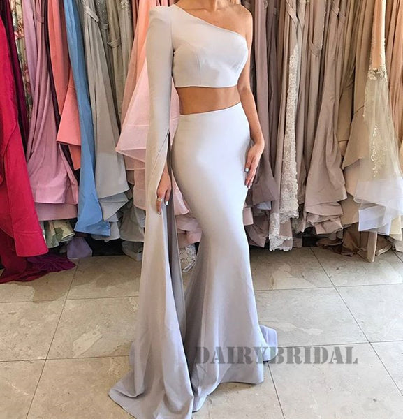 Two Pieces One Shoulder Long Sleeve Mermaid Backless Prom Dress, FC2269