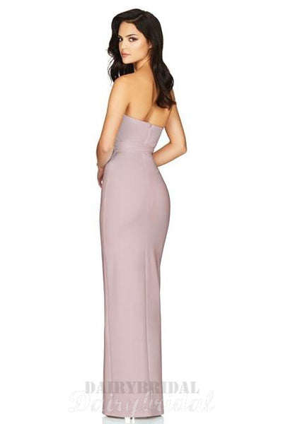 Mermaid Straight Neckline Backless Sexy Slit Bridesmaid Dress, FC2273
