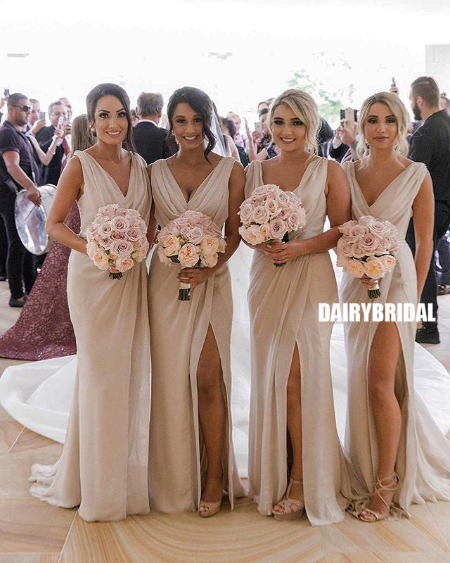 Chiffon V-neck Simple Pleated Long Slit Bridesmaid Dress, FC2389