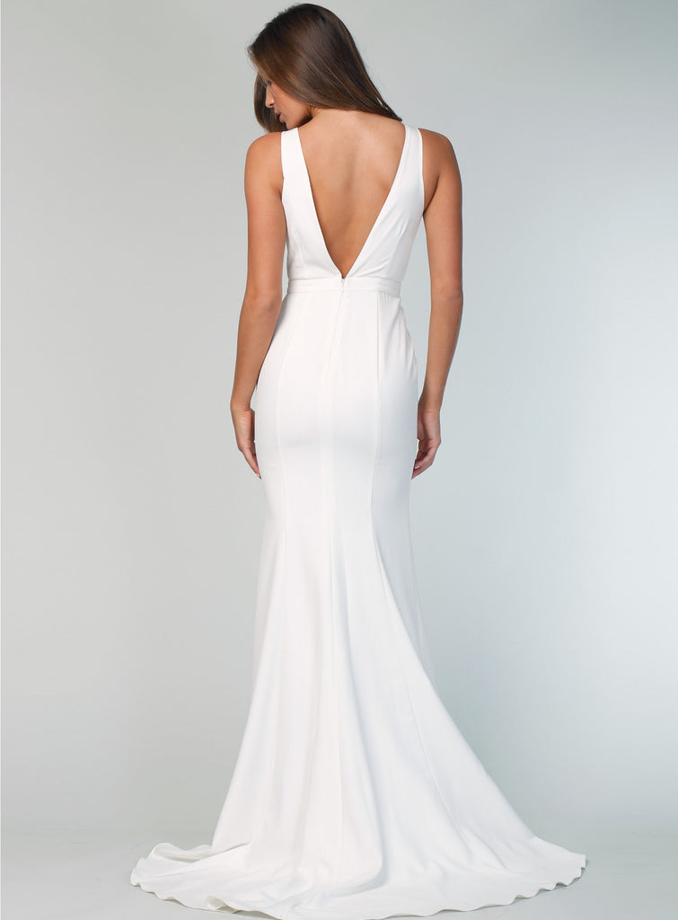 Honest White V-neck Sleeveless Mermaid Backless Bridesmaid Dress, FC2497