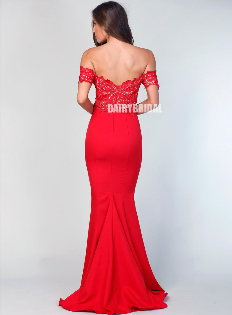 Sexy Off Shoulder Lace Top Mermaid Backless Bridesmaid Dress, FC2506