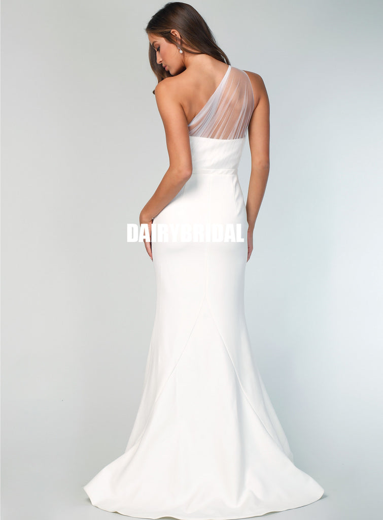 Charming One Shoulder Tulle Backless Mermaid Bridesmaid Dress, FC2517