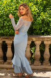 Newest Mermaid High-Low Lace Off Shoulder Long Sleeve Bridesmaid Dress, FC2554