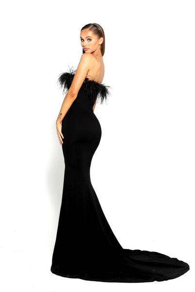 Black Jersey Mermaid Straight Neckline Sexy Backless Slit Bridesmaid Dress, FC3849
