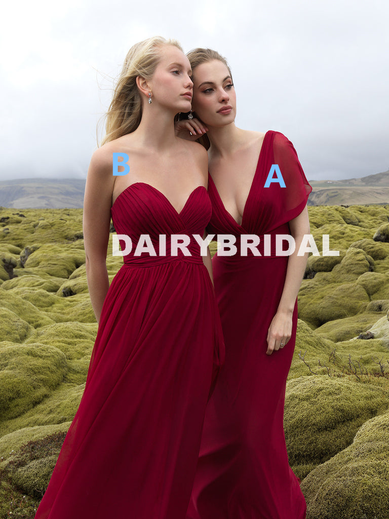Mismatched Chiffon A-Line Long Different Styles Bridesmaid Dresses, D1114