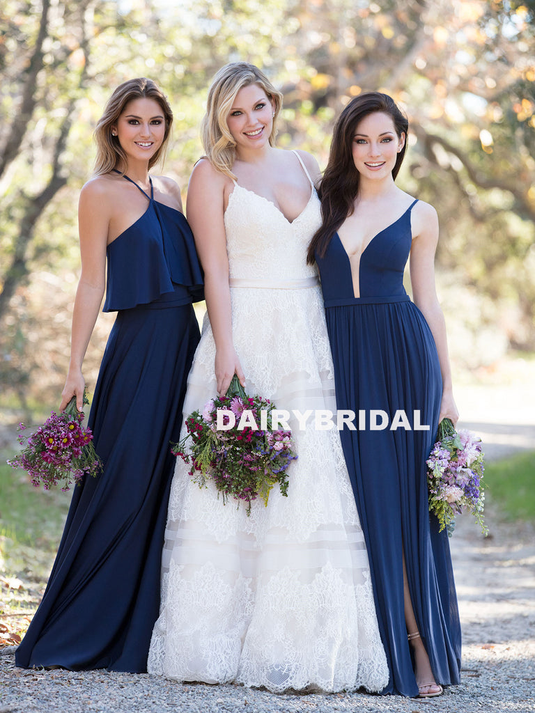 Cheap Mismatched A-Line Sleeveless Long Bridesmaid Dresses, D1118
