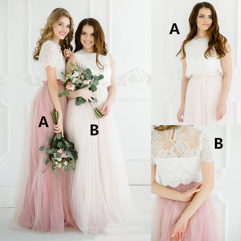 New Arrival Two Pieces Tulle A-Line  Lace Top Cheap Honest Bridesmaid Dress, D1179