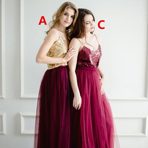 Newest Sequin Top A-Line Two Pieces Tulle Mismatched Bridesmaid Dresses, D1181