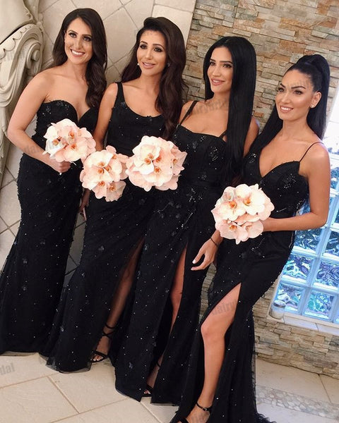 Mismatched Black Mermaid Sexy Slit Beaded Floor-Length Bridesmaid Dresses, D1353