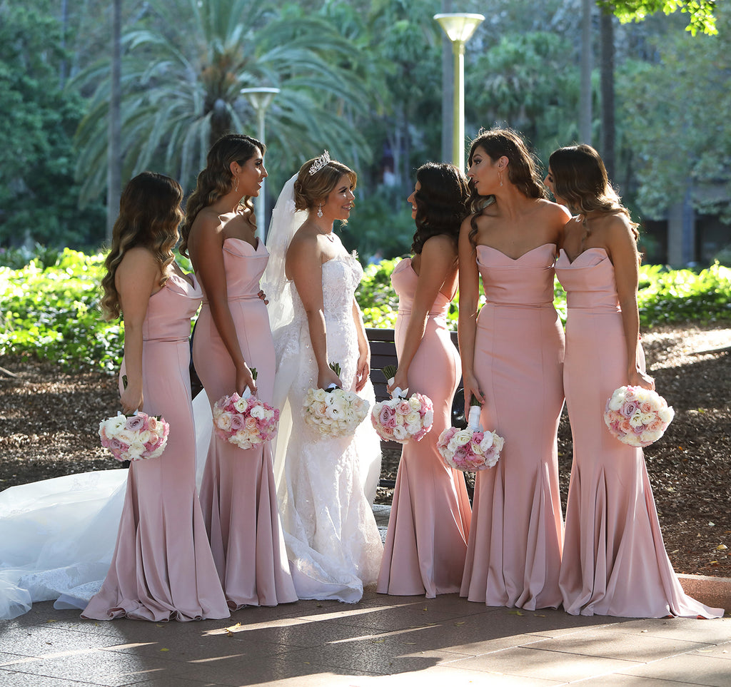 Pink Sweet Heart Backless Bridesmaid Dress, Soft Satin Mermaid Bridesmaid Dress, D1371