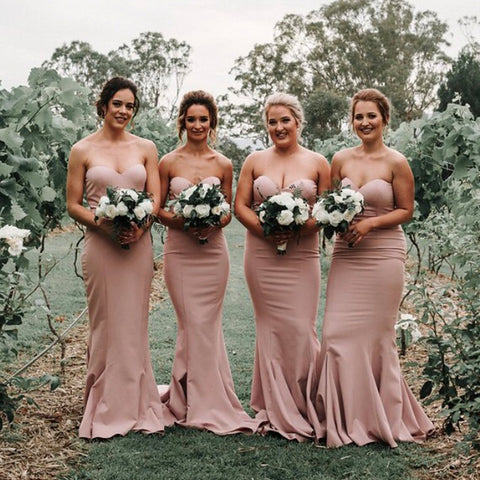 Sweetheart Backless Mermaid Simple Design Bridesmaid Dress, D1377
