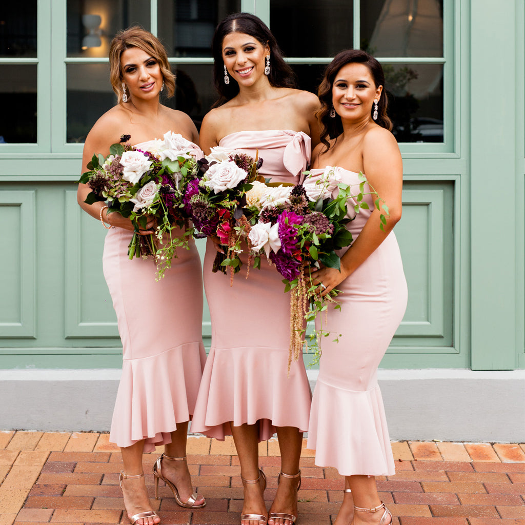 Straight Neckline Backless Jersey Mermaid High-Low Bridesmaid Dresses, D1379