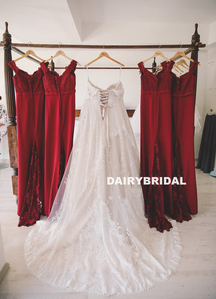 Newest Off Shoulder Lace Bridesmaid Dress, Red Backless Mermaid Sexy Bridesmaid Dress, D1385