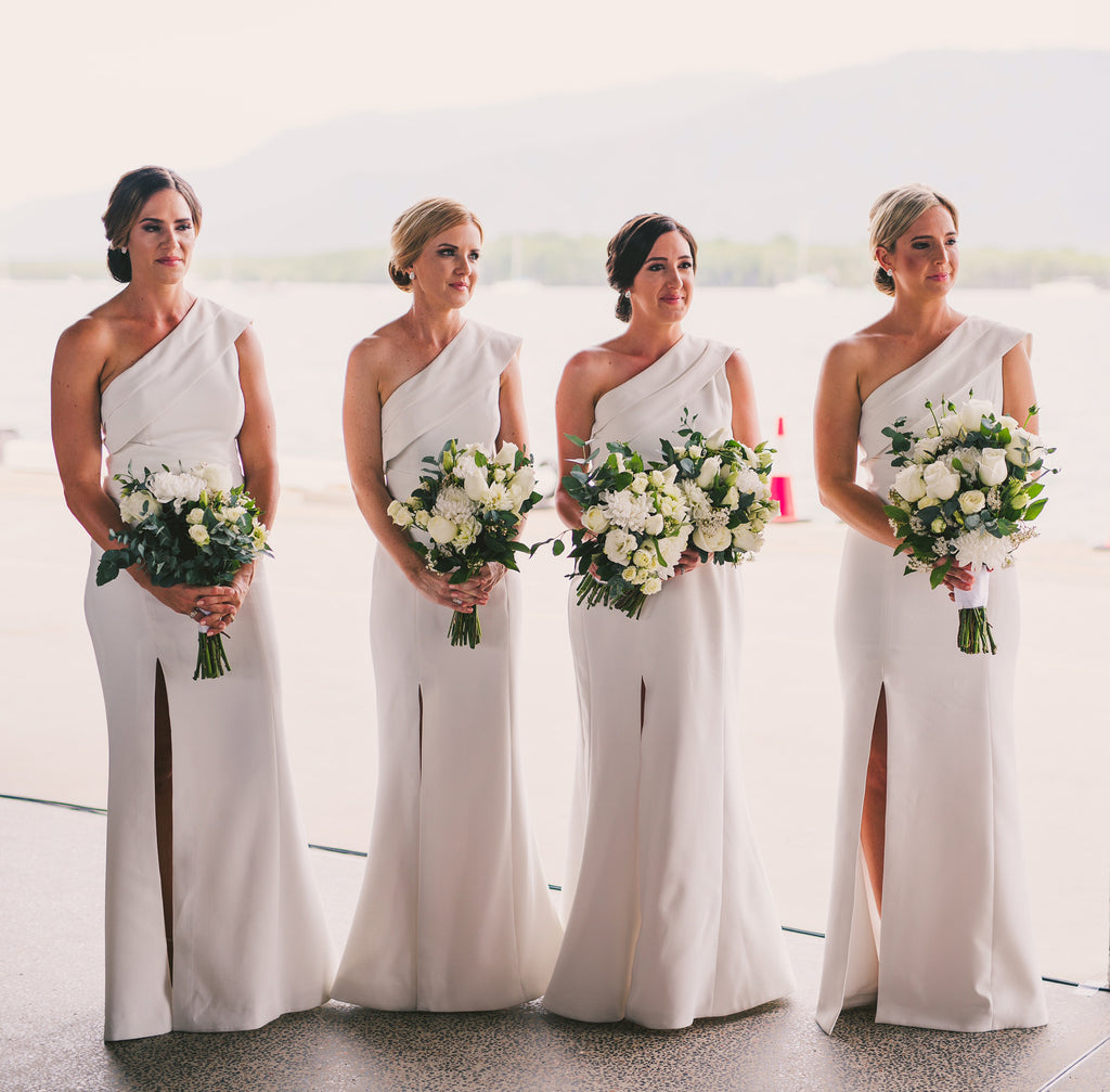 Charming One Shoulder White Mermaid Sexy Slit Bridesmaid Dress, D1387