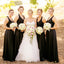 Black A-Line Satin Bridesmaid Dress, New Backless V-Neck Bridesmaid Dress, D1394