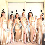 Mismatched Elastic Satin Sexy Slit Long Different Styles Bridesmaid Dress, FC3748