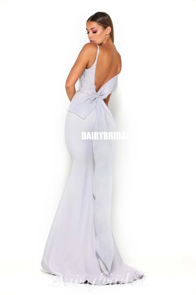 Gorgeous Mermaid Scoop Neck Backless Bridesmaid Dress with Bow-knot, FC4558