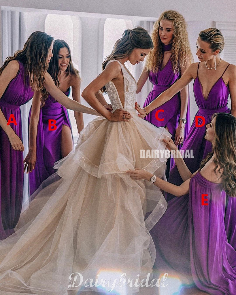 Mismatched Purple Chiffon A-Line Stunning Bridesmaid Dress, FC4583