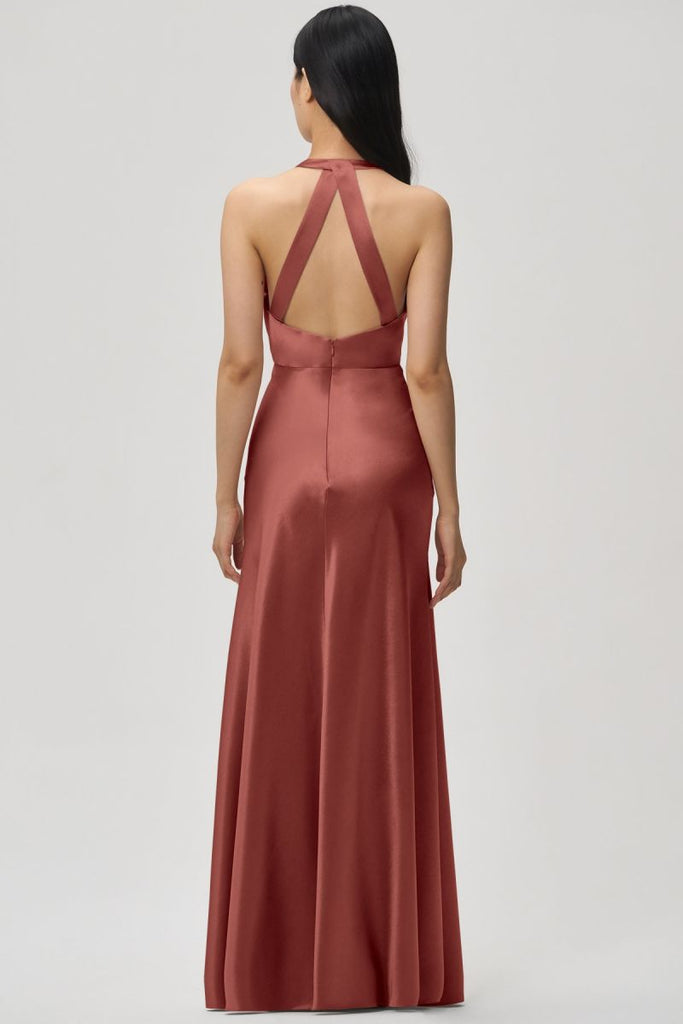 Honest A-line Deep V-neck Open-Back Bridesmaid Dress, FC5133