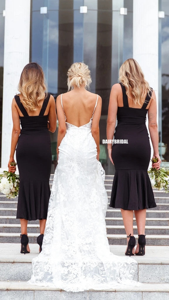 Black Sexy Deep V-neck Mermaid Backless Bridesmaid Dress, FC5311