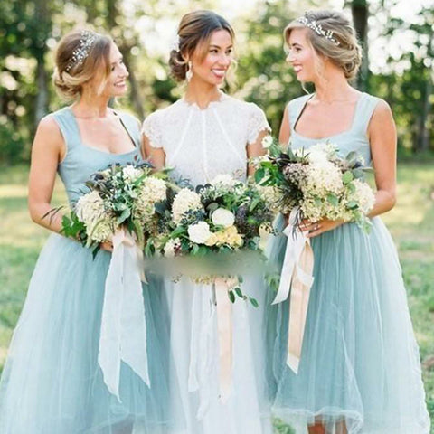 Unique High-Low Tulle A-Line Sleeveless Zip Up Bridesmaid Dresses, D945