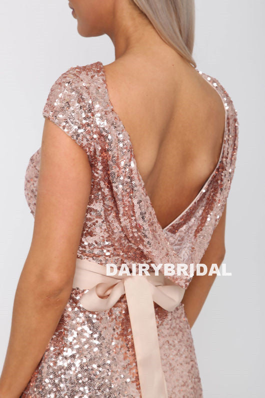 Newest Sequin Sparkle Bridesmaid Dress, Mermaid Backless Cap Sleeve Bridesmaid Dress, D1217