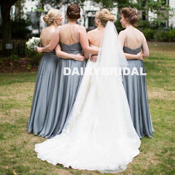 Simple Lace Top Floor-Length Bridesmaid Dress, Cheap Soft Satin Backless Bridesmaid Dress, D914