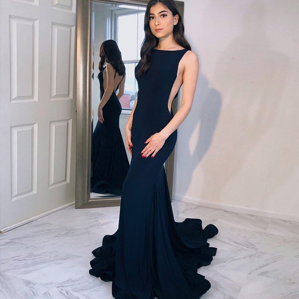 New Arrival Navy Blue Mermaid Backless Jersey Sleeveless Prom Dress, FC1246