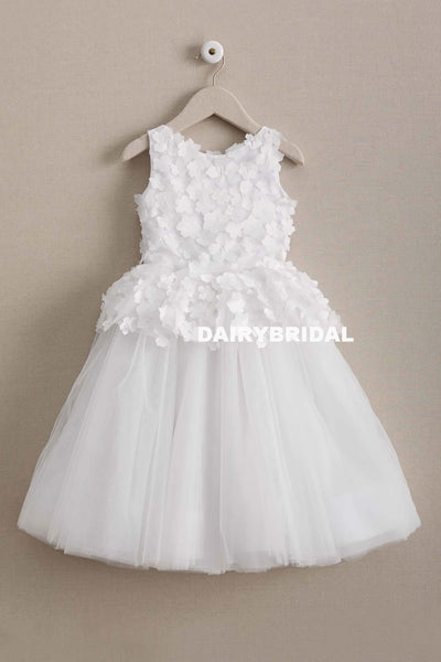Applique Simple Tulle Flower Girl Dresses, Cheap Flower Lovely Little Girl Dresses, D1000